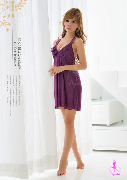 睡衣 性感睡衣 迷情紫戀繞頸荷葉領性感睡衣 星光密碼C061-1