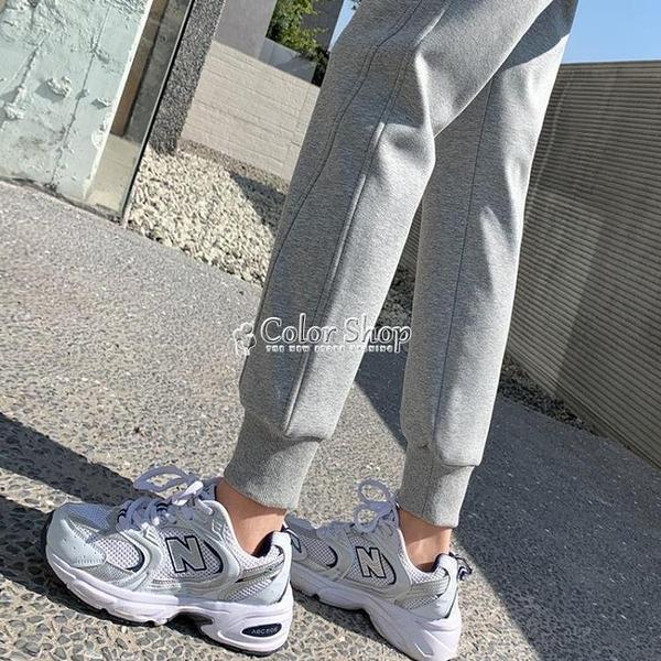 灰色束腳運動褲女學生韓版寬鬆春款休閒哈倫褲矮個子夏季衛褲潮 快速出貨