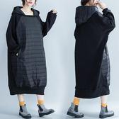 大尺碼外套 大碼女裝秋冬寬松休閑夾棉衣中長款200斤連身裙