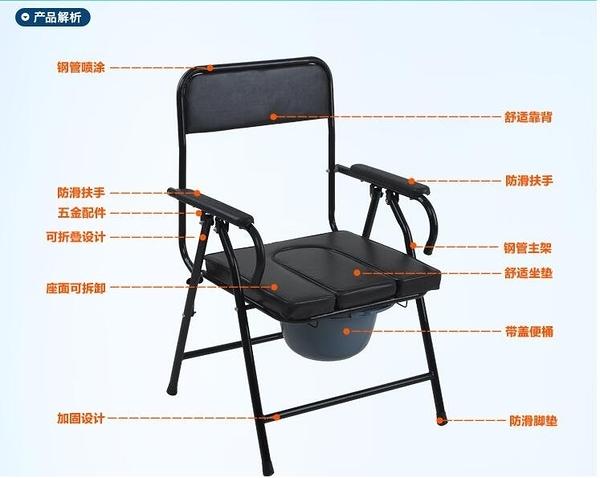 促銷加厚鋼管老人坐便椅可折疊座便器移動馬桶老年坐便椅子座廁椅