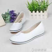 阿帥一字牌護士鞋女坡跟小白鞋白色防臭軟底美容師工作鞋黑色布鞋 印象家品旗艦店