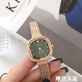 日本麥穗小方錶輕奢ins風手錶女士韓版簡約鏈條氣質網紅學生QM『摩登大道』