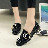 英倫風粗跟小皮鞋女春新款中跟單鞋百搭學生休閒圓頭女鞋  卡布奇諾