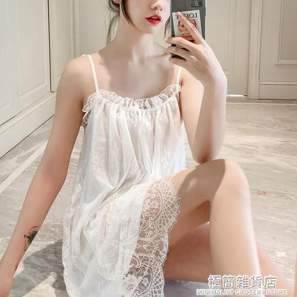 性感睡衣女夏薄款蕾絲公主風吊帶睡裙大碼維密挑逗小胸激情 極簡雜貨
