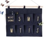 創意可愛布藝掛袋收納袋牆掛式數字多層收納儲物袋宿舍手機袋防潮