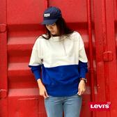 Levis 女款 高領大學T / 寬鬆落肩設計 / 湛藍色塊拼接 / 內刷毛
