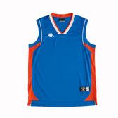 KAPPA義大利時尚型男吸濕排汗短袖藍球上衣 經典藍 磚橘