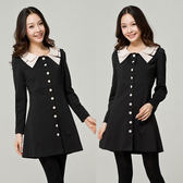 ★韓美姬★中大尺碼~氣質簡約翻領單排扣長袖連衣裙(XL)