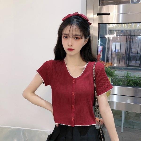 EASON SHOP(GW6029)韓版撞色拼接大小排釦薄款短版前排釦短袖針織衫T恤女上衣服顯瘦內搭衫閨蜜裝黑