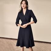 職業洋裝 氣質連身裙女春秋知性條紋修身繫帶荷葉邊中長款職業裙ol-Ballet朵朵
