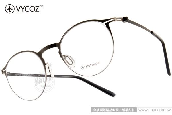 VYCOZ 眼鏡 LETTER GUNBK (銀-黑) 薄鋼系列 文青半圓框款 # 金橘眼鏡