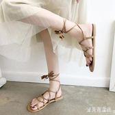 綁帶涼鞋 2018夏套趾平底羅馬沙灘涼鞋女鞋子潮 BF5878『寶貝兒童裝』