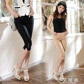 小腳褲 七分褲女春夏季韓版扣子裝飾彈力顯瘦時尚修身純色休閒褲 小艾時尚
