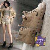 短靴 秋季馬丁靴女英倫風學生厚底透氣機車靴子工裝黑色英倫風短靴薄款 2色【快速出貨】