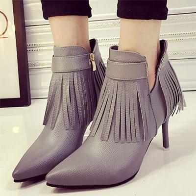 短靴  時尚流蘇尖頭側V細高跟短靴【S1338】☆雙兒網☆