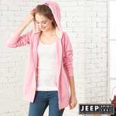 【JEEP】女裝 狐狸刺繡長版連帽刷毛外套 (粉色)