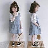 女童洋裝/連身裙牛仔背帶裙2021春夏裝韓版寶寶洋氣時髦休閒復古裙子 快速出貨
