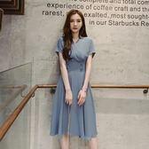2019流行夏季新款赫本小黑裙慵懶風高腰短袖連身裙女 萬客居