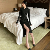 洋裝  秋季性感黑色閃亮蕾絲旗袍長款連衣裙修身優雅開叉長裙女