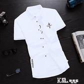 夏季短袖襯衫男士韓版修身青少年半袖襯衣潮男裝學生休閒寸衫衣服