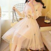 韓國甜美仙女氣質立體花朵刺繡收腰燈籠袖小禮服蓬蓬網紗連身裙洋裝 【限時八五折】