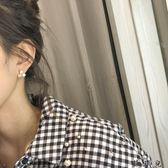 簡約方塊少女925銀針韓繫耳環