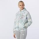 New Balance 女裝 外套 休閒 連帽 金屬拉鍊 花卉 防風 白【運動世界】WJ11504WHP