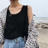 夏chic簡約純色學生寬鬆無袖T恤女打底背心小吊帶女上衣外穿  潮流衣舍