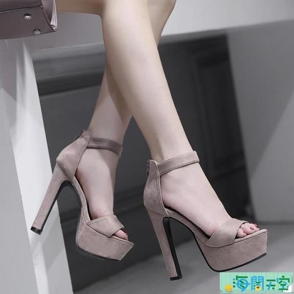 粗跟女鞋恨天高模特走秀鞋超高跟T臺車模細跟涼鞋