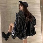 風衣女 外套女裝春百搭2021新款寬松黑色亮面風衣防水夾克環保【快速出貨八折優惠】