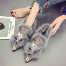 毛毛鞋 網紅女秋冬新款百搭加絨狐貍尖頭毛毛平底淺口單鞋瓢鞋 - 古梵希