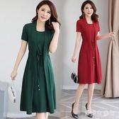 雪紡短袖假兩件媽媽洋裝 2109新款夏裝韓版時尚女中年長裙 QX13514 『愛尚生活館』