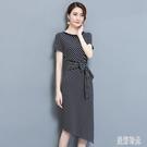 OL洋裝 歐美2020夏季新款修身顯瘦包臀時尚條紋連身裙女氣質中長款 DR34835【美好時光】