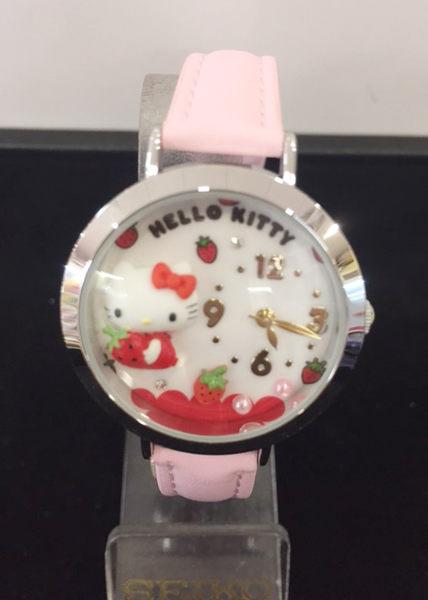 【震撼精品百貨】Hello Kitty 凱蒂貓-手錶-圓形立體草莓圖案-粉色錶帶【共1款】