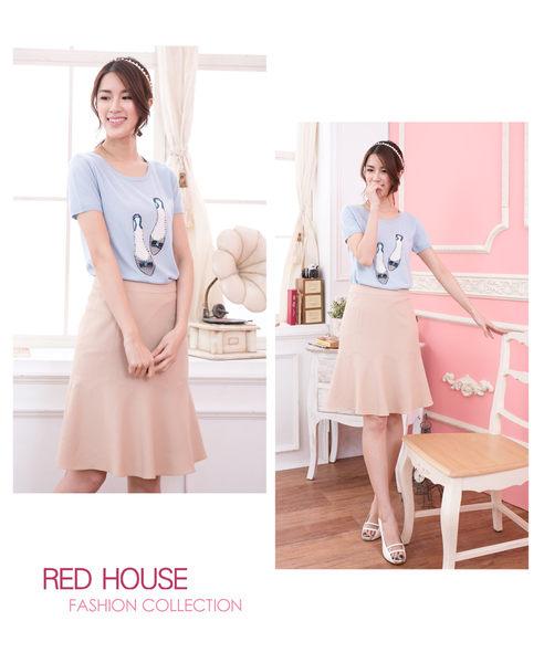 【RED HOUSE-蕾赫斯】波浪紋路及膝裙(淺卡其色)