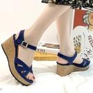 楔型鞋.MIT氣質交叉一字帶簍空扣帶厚底涼鞋.白鳥麗子