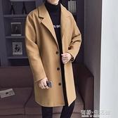 秋冬新款風衣男中長款毛呢大衣加棉加厚韓版潮流寬鬆呢子外套 雙十二全館免運