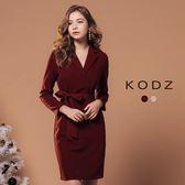 東京著衣【KODZ】歐美氣質小復古西裝領設計洋裝-S.M.L(172561)