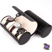 手錶盒 檀韻致遠PU皮革3位圓筒手錶盒新品珠寶首飾收納展示包裝盒子原創