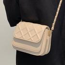 側背包 高級感菱格小包包女夏季2021新款潮時尚鏈條小方包百搭單肩斜挎包