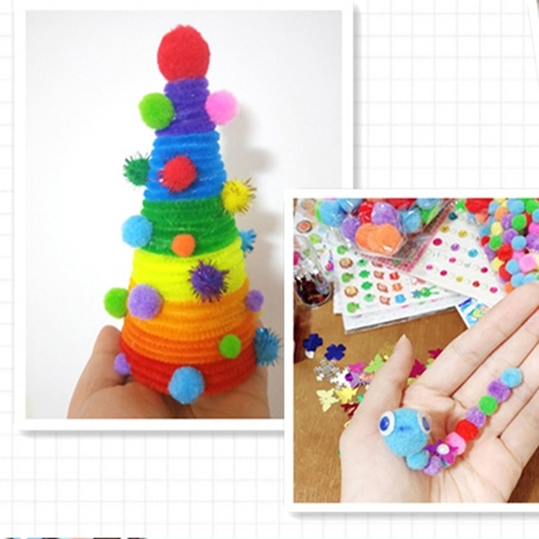 【BlueCat】彩色滌綸1-2cm混裝毛絨球 毛球 勞作 美勞 DIY材料 兒童