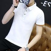 夏季男裝衣服短袖T恤男韓版修身翻領純色純棉有帶領半袖polo衫潮  良品鋪子