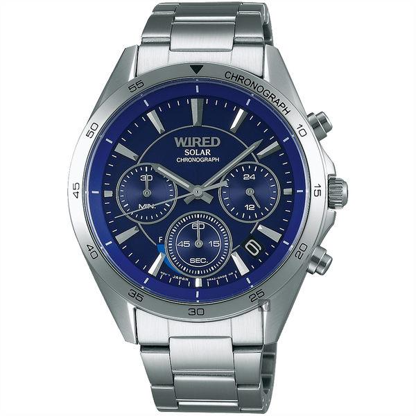 WIRED 東京玩家太陽能計時手錶-藍/40mm VR42-0AB0B(AY8027X1)