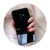 三星A8 star A6 plus 2018 S8 S9 Note8 Note9 手機殼A8 玻璃殼純色鋼化玻璃背板保護殼矽膠軟邊手機套