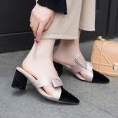 包頭半拖鞋女春款無后跟懶人穆勒鞋外穿蝴蝶結粗高跟拖鞋 艾莎嚴選