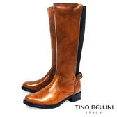 Tino Bellini歐洲進口仿舊擦色拼接彈力布平底長靴_ 棕 A69027 歐洲進口款