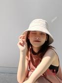 遮陽帽 漁夫帽女韓版潮百搭遮陽帽夏季薄款遮臉防曬帽紫外線太陽帽子盆帽
