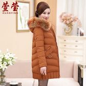 中老年棉衣女保暖中長款媽媽冬裝棉襖中年人羽絨棉服外套40-50歲