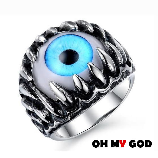 OH MY GOD創意搖滾眼球鈦鋼戒指