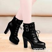 高跟靴單靴春秋季新款女靴子時尚馬丁靴防水臺粗跟高跟短靴  迷你屋 新品